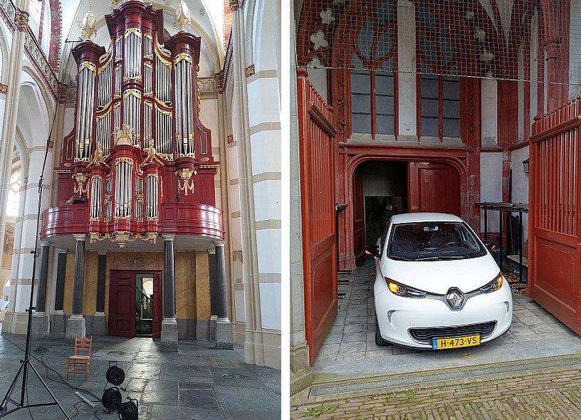 Links: orgel met statief, rechts: auto bij uitladen